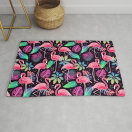 Bright pattern with Pink Flamingos bird and colorful tropical leaves Rug
