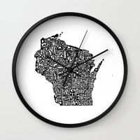 wisconsin Wall Clocks featuring Typographic Wisconsin by CAPow!