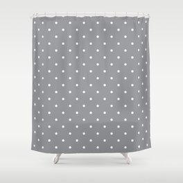 Small White Polka Dots with Grey Background Shower Curtain