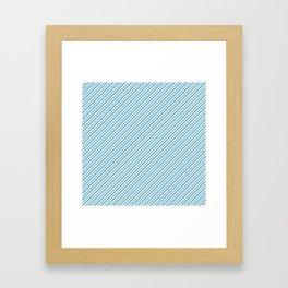 Sky Blue Strong Inclined Stripes Framed Art Print