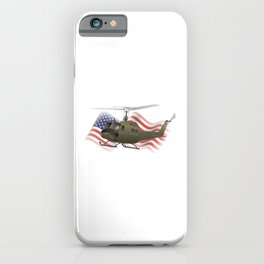 UH-1 Huey Helicopter with American Flag iPhone Case