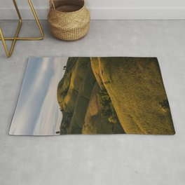 Rolling green Fairytale Hills English Countryside Landscape Rug