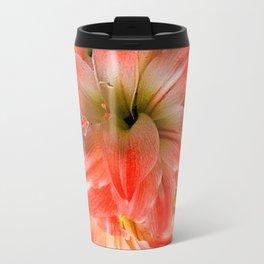 Black-Red Amaryllis Floral Pattern Travel Mug