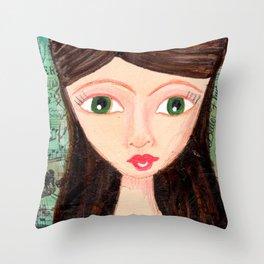 Green-eyed girl Throw Pillow