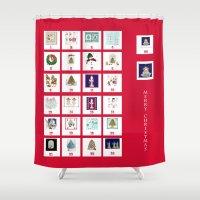 calendar Shower Curtains featuring Christmas Advent Calendar Print by KarenHarveyCox