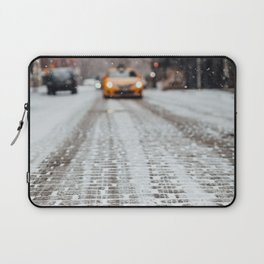 Yellow cab during snow Laptop Sleeve