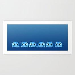 Bitty Blue Monster Art Print