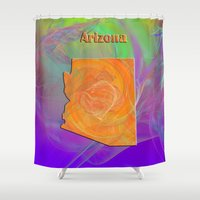 arizona Shower Curtains featuring Arizona Map by Roger Wedegis