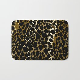 Animal Print Pattern Black and Brown Bath Mat
