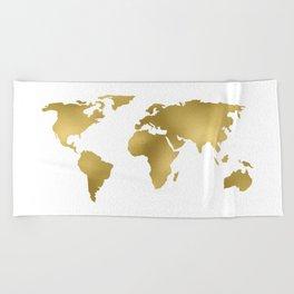Gold Foil Map - Metallic Globe Design Beach Towel