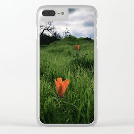 California poppies on the verdant green hills Clear iPhone Case
