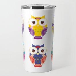bright colorful owls on white background Travel Mug