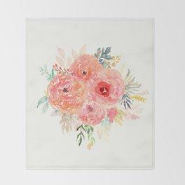 Pink Flower Bouquet Throw Blanket