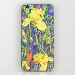Blue & Yellow Iris Garden - Abstract iPhone Skin