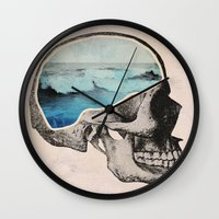 surreal Wall Clocks featuring Brain Waves by Chase Kunz