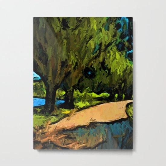 Trees along an Apricot Path Metal Print
