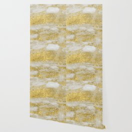 Marble - Glittery Gold Marble and White Pattern Wallpaper