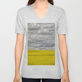 Alberta Canola Field Dramatic Cloudy Grey Sky Unisex V-Neck