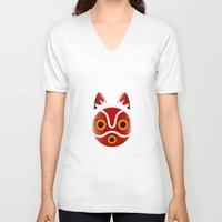 princess mononoke V-neck T-shirts featuring Mononoke by Miss Phi