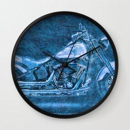 Blue motorcycle Wall Clock