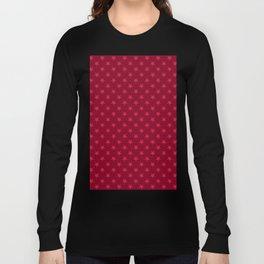 Crimson Red on Burgundy Red Stars Long Sleeve T-shirt