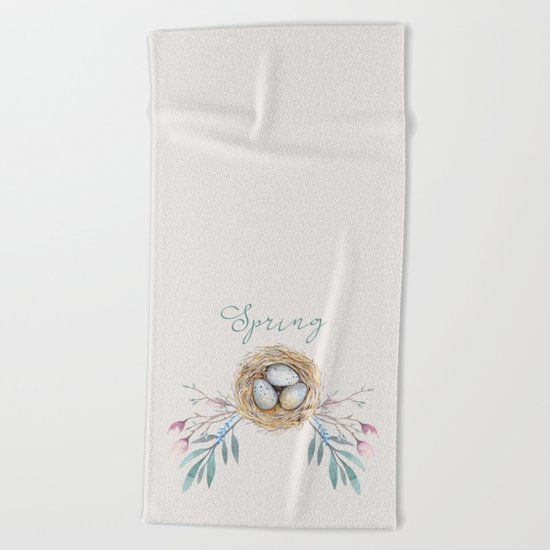 spring nest Beach Towel