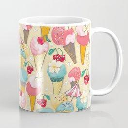 Ice wafers with raspberry ice cream on yellow Coffee Mug