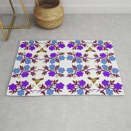 Purple and Blue Floral Design Rug