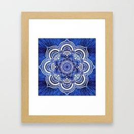 Mandala Blue Colorburst Framed Art Print