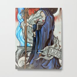 Stained Glass Witch Metal Print