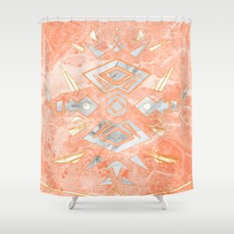 Sweet Pink Marble Design Shower Curtain