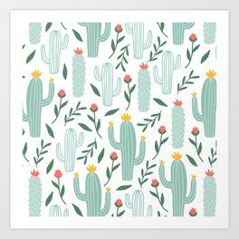 Mint Cactus Garden Art Print