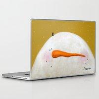 caleb troy Laptop & iPad Skins featuring Peeking Snowman Caleb by BriannasArtwork