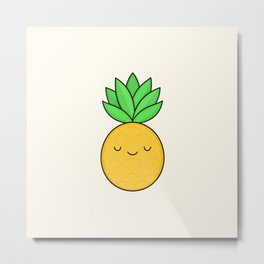 Happy Pineapple Metal Print