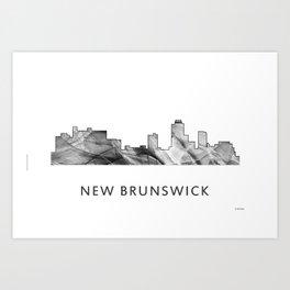 New Brunswick, New Jersey Skyline WB BW Art Print
