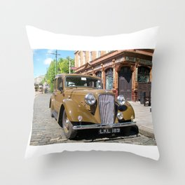 Vintage car and English Pub Throw Pillow