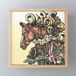Horse Doodle Flat Framed Mini Art Print