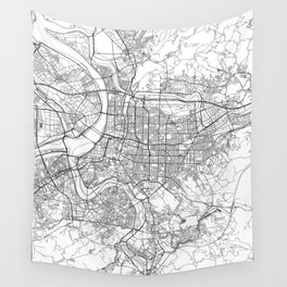 Taipei White Map Wall Tapestry