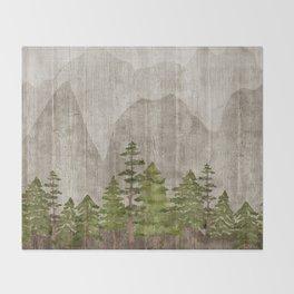 Mountain Range Woodland Forest Throw Blanket