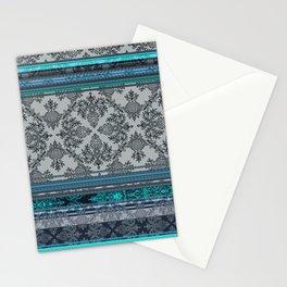 Teal, Aqua & Grey Vintage Bohemian Wallpaper Stripes Stationery Cards
