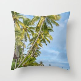 Coconut Palm Trees at Kuto Bay beach in New Caledonia. Throw Pillow