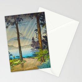 Tsuchiya Kôitsu Japanese Woodblock Vintage Print Light Shining Through Forest Trees Lake Stationery Cards