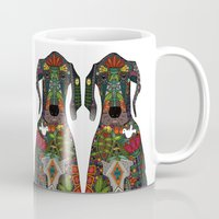 great dane Mugs featuring Great Dane love white by Sharon Turner