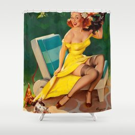 Pin Up Girl and Puppies Shower Curtain