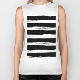 Paint Stripes Black and White Biker Tank
