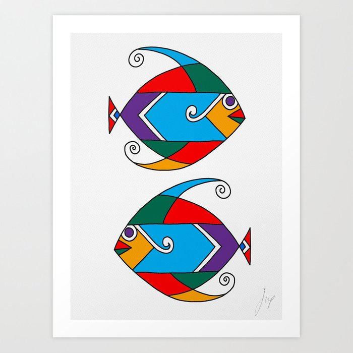 Fish Art African Colour Palette Art Print By Jnpdesigns Society6