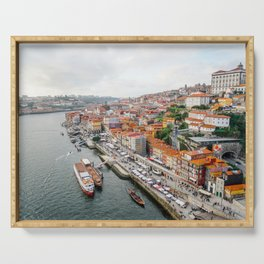 Beautiful Porto. Ribeira area and the Douro River. Serving Tray