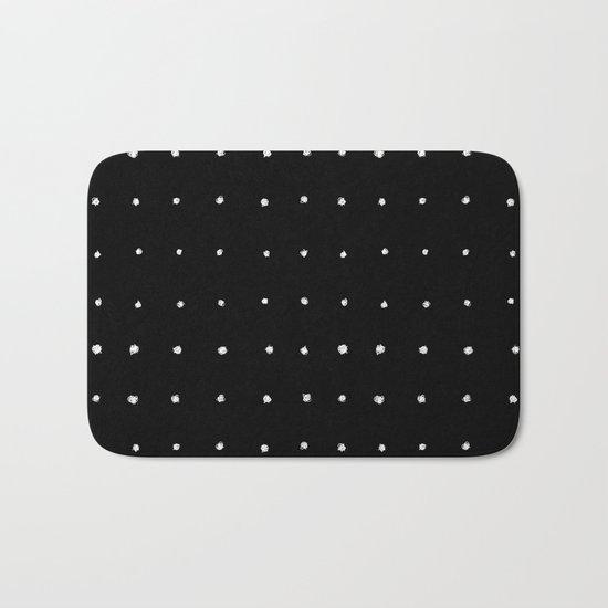Dot Grid White on Black Bath Mat