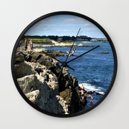 Cliff Diving - Newport, Rhode Island by Jeanpaul Ferro Wall Clock