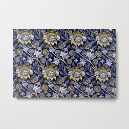 William Morris Blue Wey Floral French Textile Pattern Metal Print